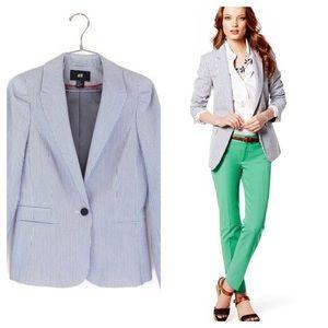 H&M seersucker blazer size 8 blue and white